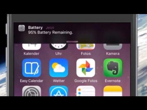 iPhone Akku Anzeige als Notification Banner mit BatteryBanners Cydia Jailbreak Tweak