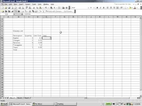 Excel 2003:  Using Sum Function and creating a custom formula