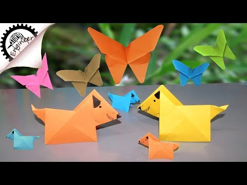 diy paper butterfly and dog | Origami paper dog | Origami paper butterfly | stupid engineer