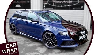 Blue Audi RS6 wrapped in Black Rose