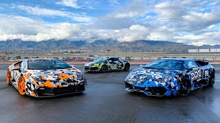MY 2 LAMBORGHINI'S & THE R8 MEET FOR FIRST TIME! *TRIO REV BATTLE*
