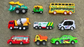 Hiding some toy vehicles, Construction Truck, School Bus, Police Car, Auto Rickshaw & others