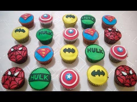 Cupcakes de Super Heroes: Batman-Superman-Spiderman-Capitan America-Hulk.