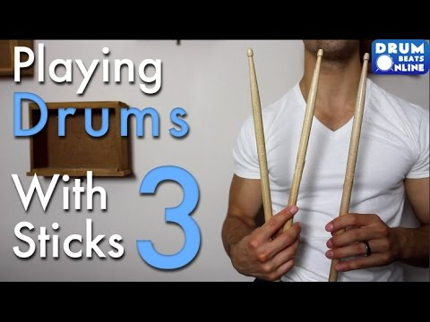 Playing Drums With 3 Sticks! - Drum Lesson | Drum Beats Online