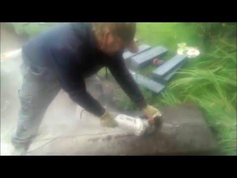 Cutting stone with a diamond blade.