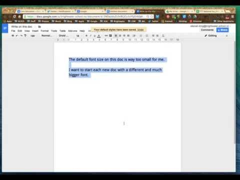 Changing the Default Google Doc Font Size
