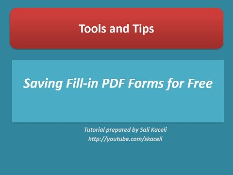 Saving Fill-in PDF Forms or Documents for Free