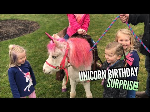 Unicorn SURPRISE at a Girl's Birthday Party!!!