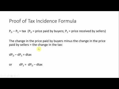 Tax Incidence Using Price Elasticities of Demand and Supply