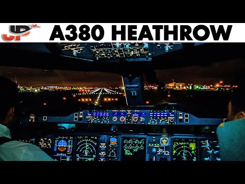 Airbus A380 Night Takeoff from London Heathrow