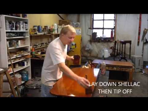GETTING SHELLACED !! BRUSHING  SHELLAC, ANTIQUE TABLE ,RESTORATION