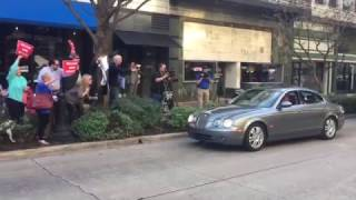 Former Alabama Governor Don Siegelman drives by supporters after release from prison