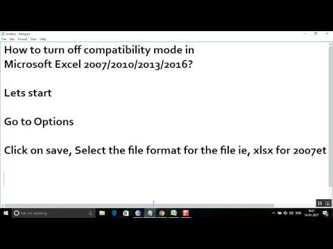 How to turn off compatibility mode in  Microsoft Excel 2007/2010/2013/2016?