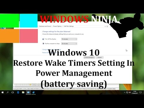 Windows 10 Disable & Enable Wake Timers in Power Management (battery saving)