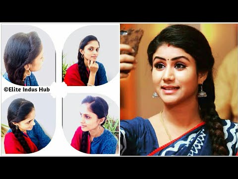 Side Puff with a trick for Frizzy Hair | Raja Rani Semba Hairstyle | Side Puff with Side Braid