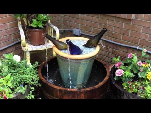 Whiskey Barrel Wine Bottle Fountain