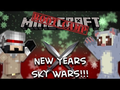 Minecraft Bootcamp: Hypixel SKY WARS NEW YEARS SPECIAL! (ft. Netty Plays)