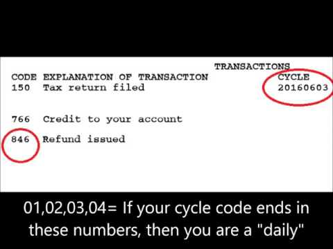 2017 Tax Year, Tax Transcripts: What is a Cycle Code?