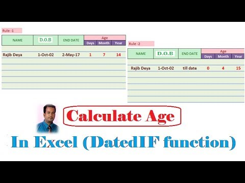 How to calculate age in Excel in dd/mm/yyyy | Using DatedIF Function