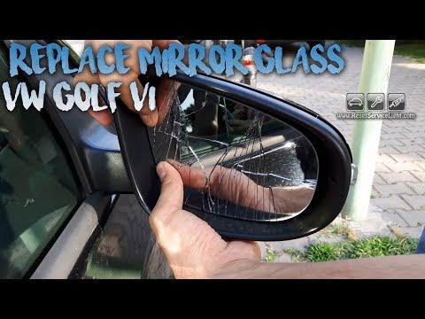 VW Golf MK6 wing broken heated mirror glass replacement