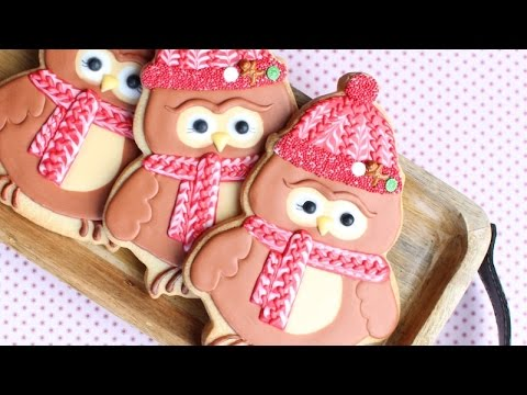 How to make Owl cookies decorated in royal icing wearing knit hat & scarf