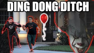 DING DONG DITCH WITH RED BALLOON ON HOUSES!! (you won