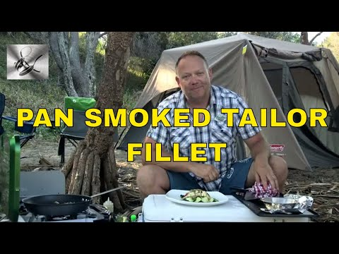 Pan smoked Tailor Fillets (Blue fish) with Asian greens on the camp stove. |TheHookandTheCook|