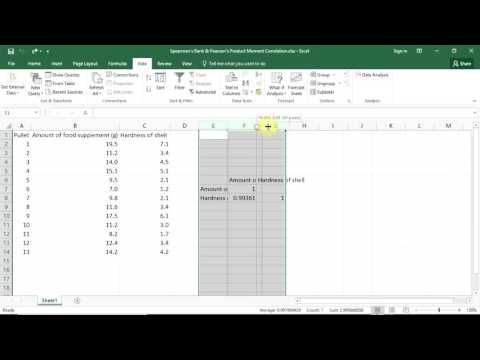 Testing for correlations in data with Excel
