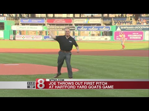 Storm Team 8 Co-Chief Meteorologist Joe Furey thorws out first pitch at Yard Goats game