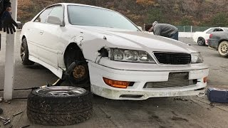 Aaron drifts the wheels off his car in Japan