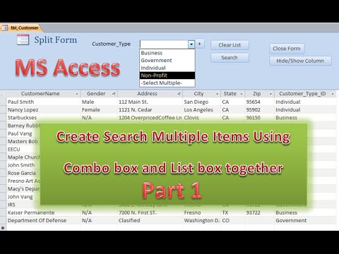 How to Create Search Multiple Items Using Combo box and List box Part 1