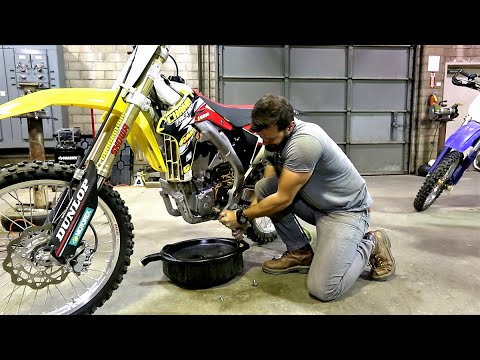 How to change oil on 4 stroke dirt bike, Suzuki RMZ 450 - Part 1