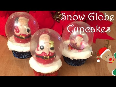 Snow Globe Christmas Cinnamon Cupcakes - Cheeky Crumbs