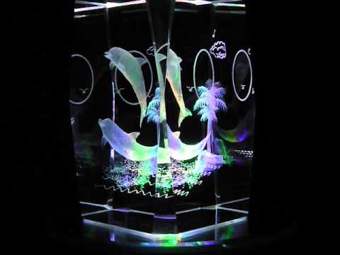 Dolphins Moon 3D Laser Etched Crystal