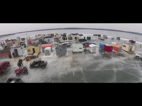 Drone video of the Renforth ice shacks