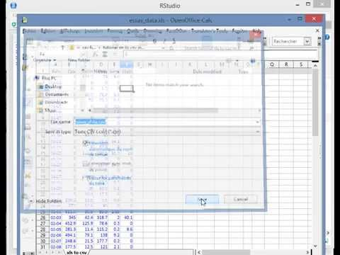 How to create csv files (R dataset) with xls or  xlsx files by using open office