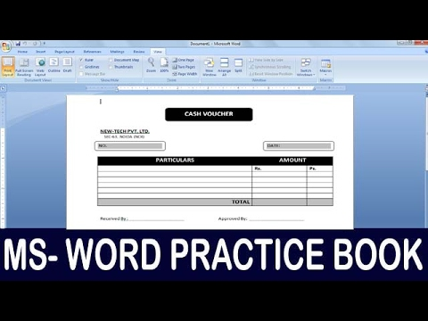Exercise 11 | Ms Word Practice Book | How To Make Cash Voucher Format 02 Ms Word