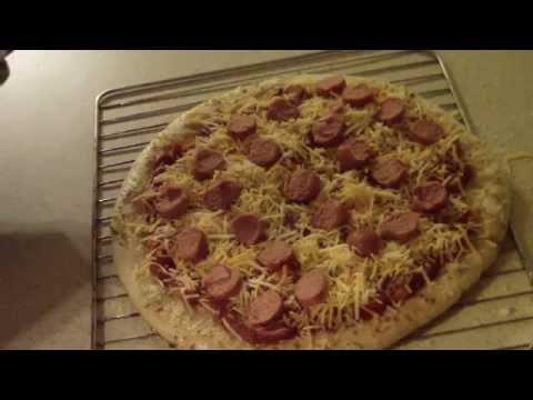 Hot Dog Pizza Homemade Nathan's Boboli original crust oster large toaster oven