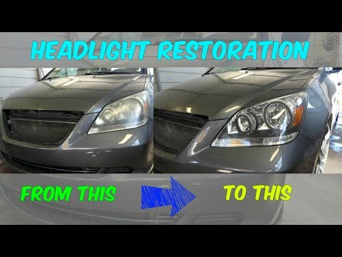 HOW TO MAKE HEADLIGHTS CLEAR LIKE NEW demonstrated on HONDA ODYSSEY
