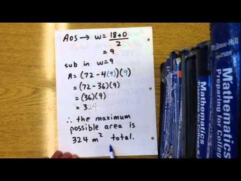 Quadratic word problem: area of rectangle (L + 4w)