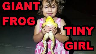 Little Girl with BIG Frog and Snake!