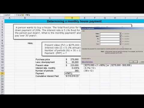 Calculating Mortgage Payment, Monthly Interest Rate and Cumulative Interest Paid