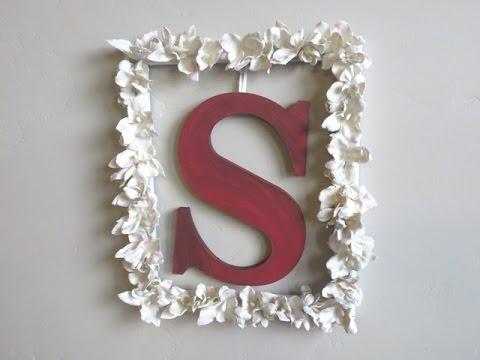 DIY Flowers & Monogram Picture Frame Wall Art - Plaster Of Paris