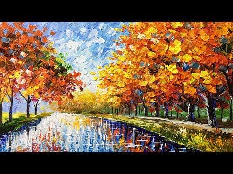 Autumn Beauty Palette Knife Acrylic Painting