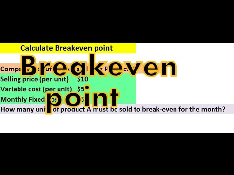 Break even analysis - How to calculate break even point, contribution per unit