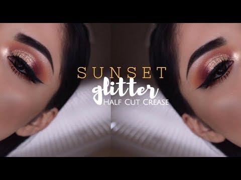 SUNSET GOLD GLITTER HALF CUT CREASE TUTORIAL