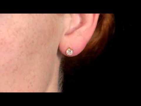 Solitaire Diamond Earrings 1.0 (ctw) in 14K Gold | MyJewelryBox