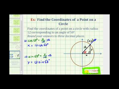 Ex:  Find the Point on a Circle Given an Angle and the Radius