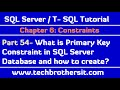 What is Primary Key Constraint in SQL Server Database - SQL Server / TSQL Tutorial Part 54