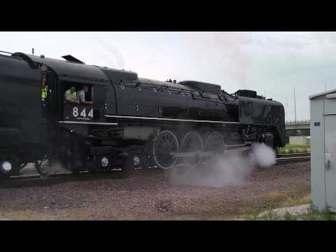 Union Pacific Steam Engine 844 at a crossing in Council Bluffs Iowa